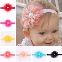 photography prop pearls Canada - New Baby Headband Infant Flower Pearl Headbands Girl Lace Headwear Kids Baby Photography Props NewBorn Bow Hair Accessories Baby Hair bands