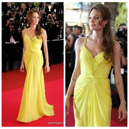 Robe Orange Angelina Jolie Pas Cher-Angelina Jolie 2016 Sexy Spaghetti Jaune plissé sirène robes de soirée en mousseline de soie formelle Celebrity Red Carpet Dress Summer formelle Maxi femmes