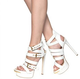 $enCountryForm.capitalKeyWord NZ - White Wedding Shoes For Bridal Shoes Cheap Modest Fashion High Thin Heels Sandals BUckle Strap Sexy New Arrive Hot Sale Bridal Accessories