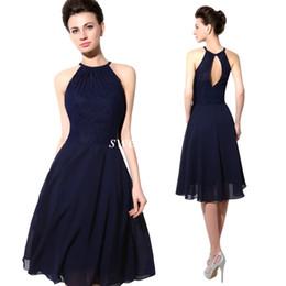 f73256493c6 2015 robes de soirée pas cher bleu marine dentelle licou ouvert dos une  ligne en mousseline