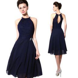 Опт 2019 дешевые короткие платья для вечеринок темно-синий кружевной холтер с открытой спиной линии шифон длиной до колен платье для выпускного вечера сексуальное платье подружки невесты
