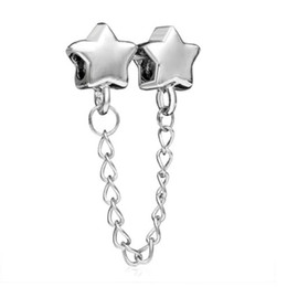 $enCountryForm.capitalKeyWord NZ - Stylish Silver color Rhodium Plating STAR European Safety Chain link Bead Spacer Charm Fit Pandora Bracelet