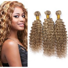 Piano Hair Weave NZ - Indian Deep Wave Ombre Hair 3 Bundles 8 613 Mixed Piano Hair Weaves Brown with Blonde Highlight Human Hair Extensions