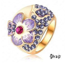 $enCountryForm.capitalKeyWord Canada - Cheap Sale! 18K Rose Gold Plated Stellux Austrian Crystal Fashion Flower Design Rings For Women FREE SHIPPING
