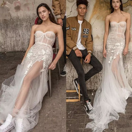 Barato Sweetheart Corsets Desossing-Liz Martinez A Line Wedding Dresses Cheap Sweetheart Neck Lace Appliques Vestido de casamento de praia Corset Side Split Bone Bridal Gowns Vintage