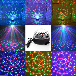 Discount disco crystal balls - Laser stage light Auto Voice-activated DJ Club Disco KTV Party Bar RGB Crystal LED Ball Projector LED Stage Light Decor