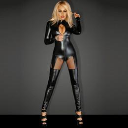 13ce599c0467 Sexy Shiny Vinyl Leather Lingerie Catsuits Women Black Hollow Out Front  Jumpsuit Plus Size Cut Out Split Leotard Overalls XXL 2018