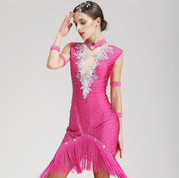 white salsa dresses Canada - Adult Girls Latin Dance Dress salsa tango Cha cha Ballroom Competition Practice Dance Dress Rose Red Sexy Sleeveless Rhinestone Tassel Dress