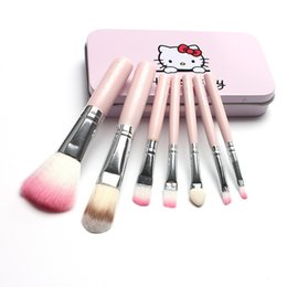 professional makeup brush sets wholesale Canada - 7pcs kits hellokitty Makeup Brushes Professional Set Mak eup Brush Tools Foundation Brush For Face Beauty Essentials