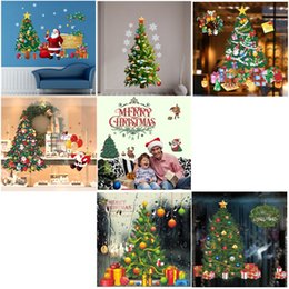 Shopping Mall Shop Windows Glass Wallpaper Stickers New Year Christmas Sun Snow Sled Window Hood Stickers Diamond