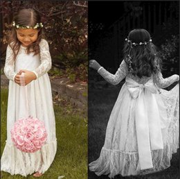 Jupes Formelles Pour Enfants Pas Cher-2015 Lace à manches longues White Girl Robes à fleurs Bow A line Floor Length Baby Formal Occasion Enfants First Communion Birthday Party Skirt Cheap