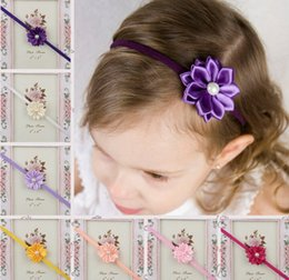 Wholesale Sweet baby girl floral pearl headbands kids toddler flowler stretch headband Children s Hair Accessories jewelry colors party gifts
