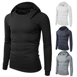 Barato Camisola De Pulôver Com Pulôver Fino-Novo Moda Solid Homens Hoodie Slim Fit Mens Gym Sports Sweater Roupa Long Sleeve Sport Suit Men Brand