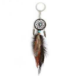 $enCountryForm.capitalKeyWord UK - Handmade Dreamcatcher Feather Key Ring Mini Feather Dream Catcher Keychain Bag Hanging Accessories Support FBA Drop Shipping D276Q