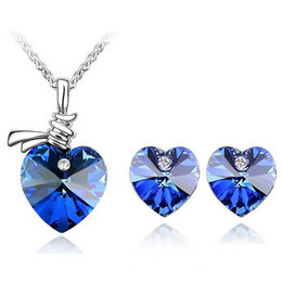 $enCountryForm.capitalKeyWord NZ - High Grade Heart Necklace Earrings Sets For Females jewelry Sets bridesmaid jewelry sets luxury pendants women necklace set 2308