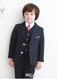 Veste De Mariage Pour Bébés Pas Cher-2015 Costumes d'habillement pour garçon pour Boy Notch Lapel Baby Kids Party Forme 2016 Fête de mariage Smoking pour enfants (Veste + pantalons + Cravate + Veste)