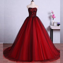 Barato Strapless Barato Vestidos De Baile-Cheap High Quality Red and Black Prom Dress Long Formal Strapless Lace-up Back Evening Gowns Beaded Lace Tulle Skirt Custom vestido formal