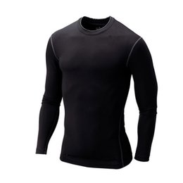 Wholesale New T shirt Men Base Layer Thermal Under Top Bodybuilding Skinny Gym Long Sleeve Sport Shirt Skins Gear Cool Dry Plus Size