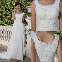 $enCountryForm.capitalKeyWord Australia - 2016 New Fashion Popular Free Shipping Elegant Ivory Court Train Scoop Beading Chiffon Sheath Classic Wedding Dresses 275