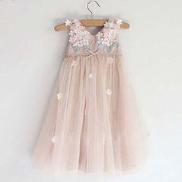 Wholesale Party Dress Girls Lace Princess Dresses Children Clothes Kids Clothing Summer Dresses Flower Girl Ruffle Tulle Dress C6750