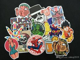 Body Cars Cartoon Canada - 50pcs All Different Car Accessories Wholesale Cartoon Car Motorcyle Trolley Graffiti Stickers Decals sticker bomb for car body
