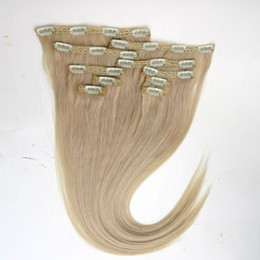 120g 10pcs 1set clip in hair extensions 18 20 22inch 613# Bleach Blonde Straight Remy human hair Top Quality on Sale