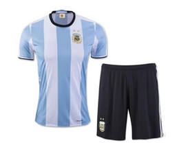 Chinese  2018 world cup Argentina Soccer Jersey 2018 Argentina Adult Home Blue soccer Shirt Messi Aguero Di Maria football uniform manufacturers