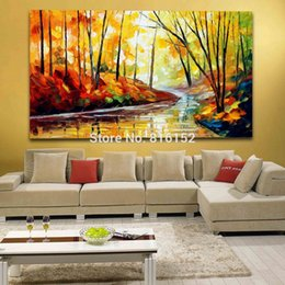 $enCountryForm.capitalKeyWord Canada - Palette Knife Oil Painting Charming Forest Road Landscape Picture Printed on Canvas for Home Office Hotel Wall Art Decor