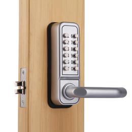 Keypad Entry Locks UK - Mechanical Keypad Keyless Wooden Door Lock Push button Entry Handle
