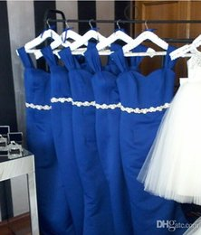 cheap strapless trumpet wedding dresses UK - Elegant Royal Blue Bridesmaid Dresses Cheap Satin Mermaid Long Prom Party Gowns Plus Size Wedding Party Maid of Honor Dress