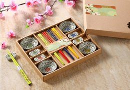 japanese ceramic sets Canada - Creative 12 Pieces Japanese Ceramic Sushi Serving Set w  Sauce Dishes Chopsticks Rest Assorted Color Hand Painted Sakura Pattern