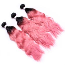 1b pink human hair 2019 - Wet And Wavy Human Hair Bundles Top Sale Ombre Human Hair Weave 1B Pink Water Wave Bundles Cheap Two Tone Ombre Brazilia