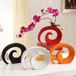 Großhandel Moderne Keramik Vase für HOme Decor Tabletop Vase weiß rot schwarz orange Farbe Wahl