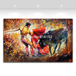 $enCountryForm.capitalKeyWord NZ - Impressive Palette Knife Oil Painting Spanish Bullfight Painting Printed on Canvas Mural Art for Home Living Hotel Wall Decor