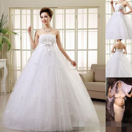 Pretty Pregnant Wedding Dresses Women Married Strapless A-Line Dresses Lace-up  Floor-Length Plus Size Bride Maternity Wedding New 59f0c9e0c26e