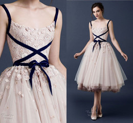 Short Formal Wedding Dress Canada - Paolo Sebastian Tea Length Tulle Wedding Dresses Blush 2015 A Line Lace Spaghetti Straps Short Bridal Gowns Custom Made Formal Prom Gowns