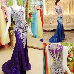 Barato Mais Tamanho Vestido De Lantejoulas-Frete Grátis Plus Size Vestidoa Real Sample Dazzling Sweet-heart Cover Back Mermaid Long Sequins Cristais Beaded Evening Prom Dresses