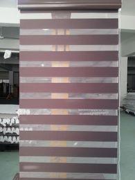 Venta al por mayor de Translucido 100% poliéster cebra Persianas en café oscuro Ventana cortinas para la sala de estar de 30 colores están disponibles