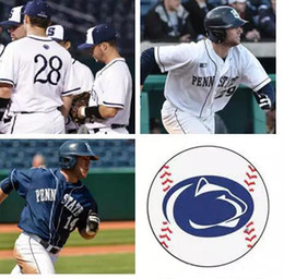Navy blue meNs baseball jersey online shopping - Custom Mens Big Ten NCAA penn state baseball Jersey Sitched White Navy Penn State Lions Personalized Jerseys adults size S XL