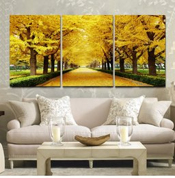 golden tree oil painting NZ - 3 Panel No Framed Printed Golden Fall Tree Painting On Canvas Room Decoration Print Poster Picture Canvas Free Shipping