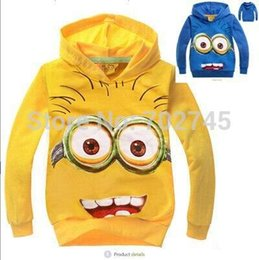 Sac À Main Hoodie Minion Méprisable En Gros Pas Cher-Gros-gros Garçons Hoodies Despicable Me Minions Cartoon Terry Long capuche manches 0602