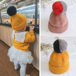 baby girl knitted winter bonnets 2019 - 2017 New Kids Colorful Faux Fox Fur Knitted Beanie Hat Baby Cute Double Color Pom Pom Warm Skullies Bonnet Caps cheap ba
