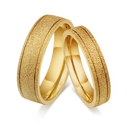 $enCountryForm.capitalKeyWord NZ - Wedding Ring 8mm 6mm sand blasted gold color 316L stainless steel wedding couple Ring sets for Women Men comfort fit hot sale