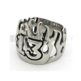 Rings Flaming NZ - Teboer Jewelry 3pcs Stainless Steel Mens Flame Numbers Lucky 13 Ring Biker MER155