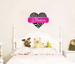 Personalized Zebra Print Heart Custom Name Wall Art Decals Home Decorative Stickers  Wall Art Decal Bedroom Wallpaper