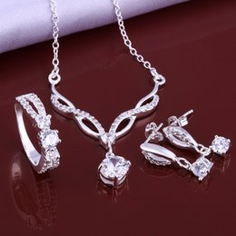 $enCountryForm.capitalKeyWord Australia - High grade 925 sterling silver Zircon lip three-piece suit - White jewelry sets DFMSS631 brand new Factory direct sale wedding 925 silver