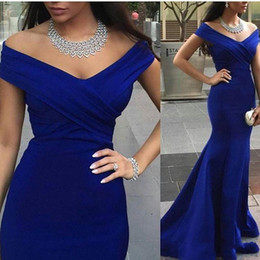 Celebrity oCCasions dresses online shopping - Charming Royal Blue Evening Prom Gowns Backless Formal Party Dresses Occasion Mermaid Off Shoulder Capped Celebrity Arabic Dubai