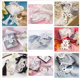 Großhandel Hochzeitsbevorzugungen Hochzeit Partygeschenke Edelstahl Love Bookmark Favors Dekorationen mit Quaste Ribbon und Display-Box