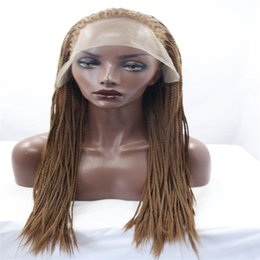 Black women hairstyles Braids online shopping - lace front wigs Africa american braided lace wig heat resistant synthetic frontal hair long micro braided wigs for black women Light color