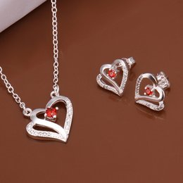 Lovers Branded Earring Canada - High grade 925 sterling silver Heart-shaped piece jewelry sets DFMSS513 brand new Factory direct sale wedding 925 silver necklace earring